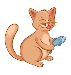 Cute happy cat with a fish in the hands cartoon vector