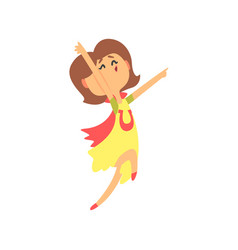 Cute happy surprised cartoon woman jumping vector