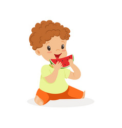 cute little redhead boy character enjoying eating vector image vector image