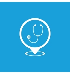 Doctor map marker icon white vector