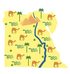 Egypt map Characters and attractions of Egypt vector image