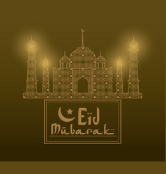 Eid mubarak greeting with mosque abstract and hand vector