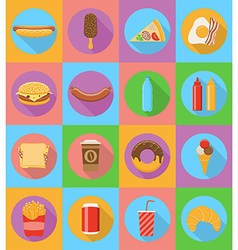 fast food flat icons 19 vector image
