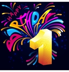 Fireworks Happy Birthday with a gold number 1 vector image