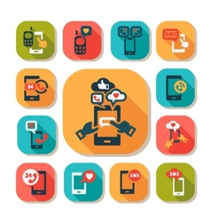 flat phone icons set vector image vector image