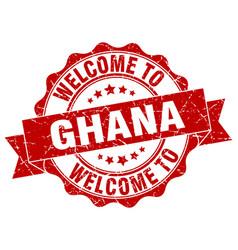 Ghana round ribbon seal vector