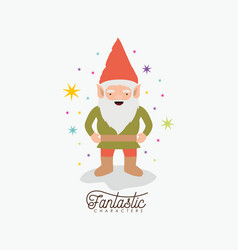 Gnome fantastic character with costume and vector