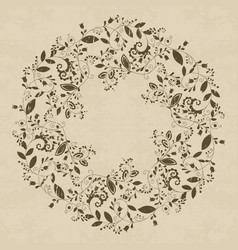 grunge textured floral frame in doodle style vector image vector image
