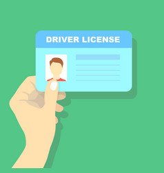 Hand holding car driving licence id card vector