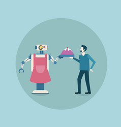 modern robot giving dish with food to man icon vector image
