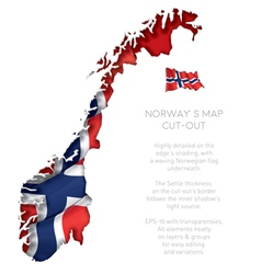 Norway map cut out with waving flag vector