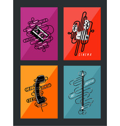 retro posters collection vintage art vector image vector image