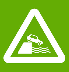 riverbank traffic sign icon green vector image