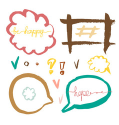 Set of handdrawn speech bubbles colorful vector