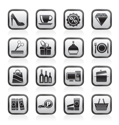Shopping and mall icons vector