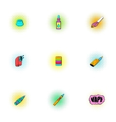 Smoking icons set pop-art style vector