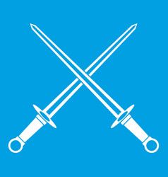 Swords icon white vector