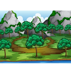 Trees and moutains vector image vector image