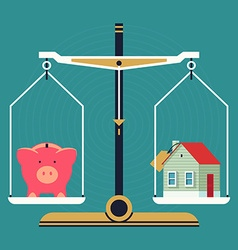 Weight scales with a piggy bank and house vector