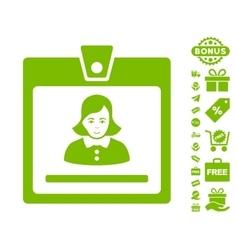 Woman badge icon with free bonus vector