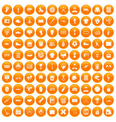 100 mens team icons set orange vector image vector image