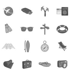 Summer travel icons set black monochrome style vector
