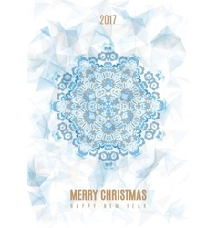 Christmas poster big snowflake on ice background vector