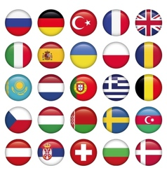 European icons round flags vector