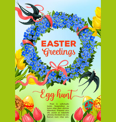 Easter egg hunt poster with egg and flower wreath vector