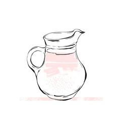 Refreshing lemonade  glass with straw vector