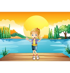 A young girl standing above the wooden diving vector image