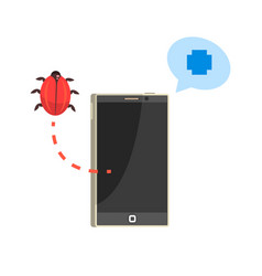 Smatphone and red bug cybersecurity cartoon vector