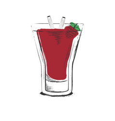 Raspberry cocktail hand drawn in sketch retro vector