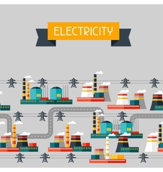 Industry background with industrial power plants vector