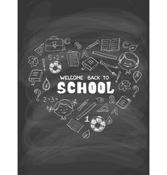 School objects in the shape of heart vector image