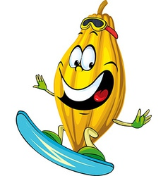 Cocoa pod character surfing isolated on white vector