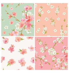 Set of spring blossom flowers background vector