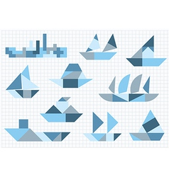 Tangram many ships on a white background vector