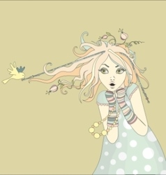 Spring girl with bird and flowers vector