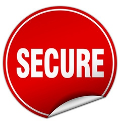 Secure round red sticker isolated on white vector