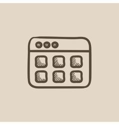 Browser window with folders sketch icon vector