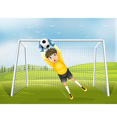 A football catcher in a yellow uniform vector image vector image