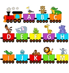 Alphabet train animals from a to m vector