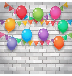 balloon and party flags on brickwall background vector image vector image