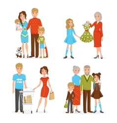 Big Family Icons Set vector image