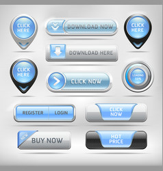 Blue glossy web elements button set vector