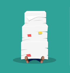 businessman under the stack of paper vector image vector image