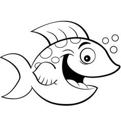 Cartoon smiling fish vector