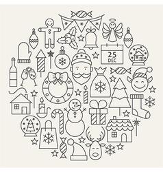 Christmas New Year Holiday Line Icons Set Circular vector image vector image