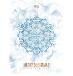 Christmas poster big snowflake on ice background vector
